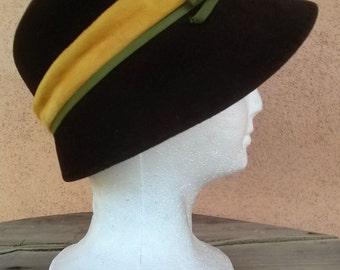 Vintage 1960s Hat Cloche Bucket 1920s Style Brown Wool Felt 2015410