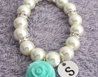 Personalized Flower Girl Bracelet, Mint Green Rose Flower Bracelet, Flower Girl Gift, White Pearls Children's Bracelet, Free Shipping In USA