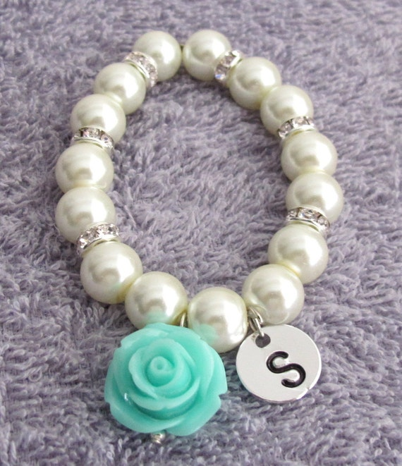 Flower Girl Bracelet with Rose Personalized Flower Girl Bracelet  Flower Girl Gift  White Pearls Light Pink Rose Flower Free Shipping In USA