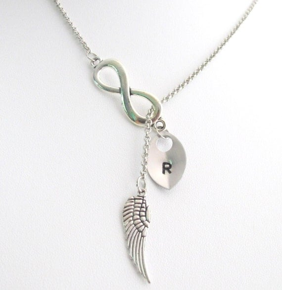 Infinity Wing Necklace Angel Wing Necklace, Faith Necklace Pesonalized Wing  Necklace Monogram Neckalce , Gift To Staff Free Shipping In USA