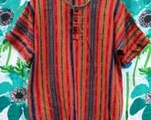 Vintage Unisex Simple Woven Striped Guatemalan Top sz L