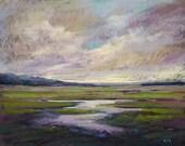 ICELAND Art  Dramatic Sky Original Pastel Painting Karen Margulis 14x18