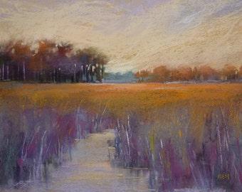 Autumn Marsh with Creek VIOLET Original Pastel Painting 13x18