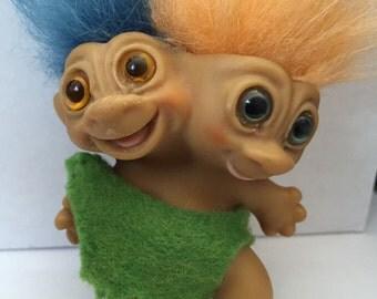 "Two Headed Wishnik Troll Doll all orginal  Rare 3""circa 1965 Caveman outfit Free Priority Shipping"