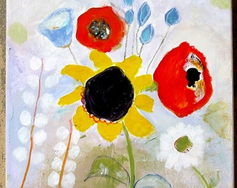 Original painting, flowers, stretched canvas, acrylics, 12x12 in, sunflower, poppy