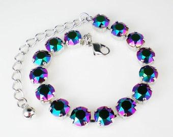 Scarabaeus Green Rhinestone Bracelet Swarovski Violet Teal Fuchsia Wedding Jewelry Bridesmaid Jewelry
