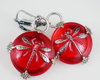 Dragonfly Earrings Ruby Red Czech Glass Buttons Oxidized Silver Dragonfly Jewelry