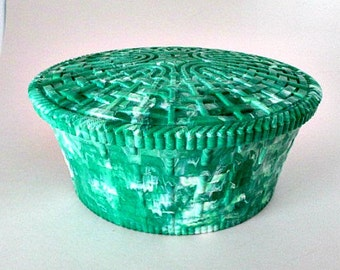 Vintage Sewing Box with Tray - Plastic Wicker Green and White Marbleized Sewing Box Organizer