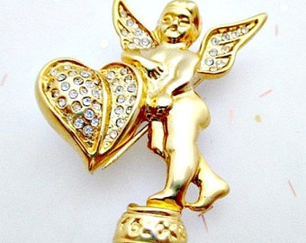 Cherub Angel Pin Vintage Brooch Pin - 5.00 Valentine Jewelry