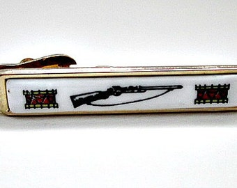 Rifle and Drum Vintage Tie Clip  - Signed Shields - 5.00 Vintage Men's Dude Jewelry Gift