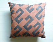 African Woven Boho Mudcloth Print Pillow - Orange Rust and Brown