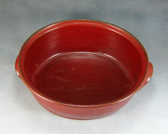Small Red Ceramic Oval Casserole Hand Thrown Stoneware Pottery 2