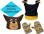 Winter Fun Hat and Mittens Sewing Pattern- PDF tutorial for Baby and Kids Boys and Girls