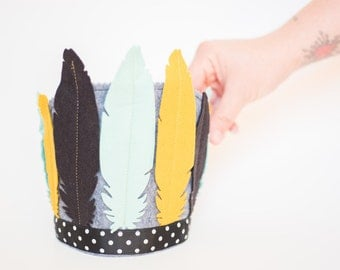 Feather Headress - Southwestern Birthday Party - Costume -Mint Mustard Black