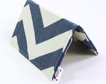Mini Wallet / Card Holder / Business Card Holder / Card Case / Gift Card Holder/ Small Wallet - Denim Chevron