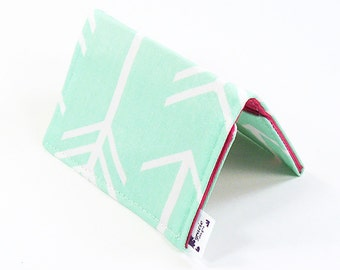 Mini Wallet / Card Holder / Business Card Holder / Card Case / Gift Card Holder/ Small Wallet - Mint Arrow