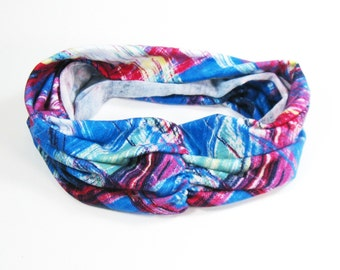 Turban Headband - Modern Blue Pink and Red