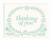 Thinking of You letterpress greeting card, blank inside, Maine made, nature, flowers, hand-printed, made in USA, condolences, friend, wreath