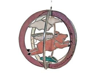Flying Pig Stained Glass Suncatcher