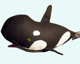 Stuffed Orca Softie Felt Whale Doll Plush Toy Porpoise Ocean Hand-Stitched Killer Whale Sea Creature Black&White