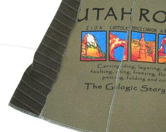 Utah Rocks Tee Skirt Large Mini Skirt women tshirt skirt olive green stripes Geology Parks upcycled clothing nerd Rock climbing hiking camp