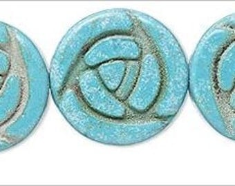 NEW Fabulous Double Sided Green Magnesite Turquoise Carved Flat Rose Beads 20mm 2pcs