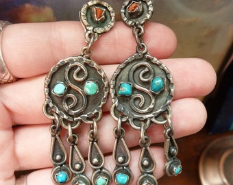 Large Vintage Sterling Silver, Turquoise and Coral Taxco Southwestern Earrings