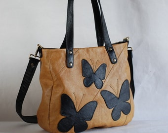 Leather bag with butterflies