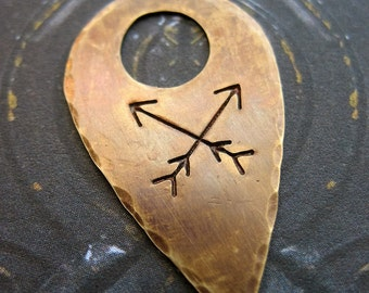 Hammered Antiqued Brass Arrow Stamped Point Pendant