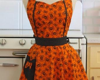 Retro Apron Orange Halloween Spiders -  MAGGIE