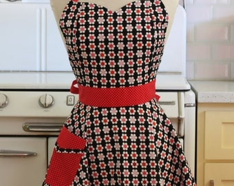 Retro Full Apron Sweetheart Neckline Red and Pink Daisies on Black BELLA