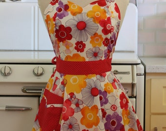 Retro Full Apron Sweetheart Neckline Bright Flowers on White - BELLA