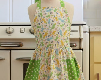 Vintage Inspired Easter Bunnies Rabbit Full Apron for Little Girls