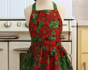 Vintage Inspired Christmas Apron for Little Girls - Red Poinsettias