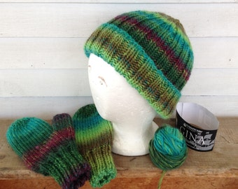 Adult Teen Hat and Mitten Set - buy pieces or buy set - GAELIC - Celtic Colors - Hand Knit Handknit -Green Blue Purple - Ply