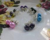Pearl Stud Earrings, Purple, Pink, Peacock, Aqua, Forest Green, Sterling Silver