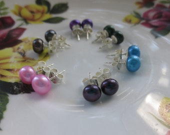 Pearl Stud Earrings, Purple, Pink, Peacock, Aqua, Forest Green, Sterling Silver