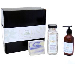 Unwind Spa Gift Set, Natural Skin Care, Cleanse, Soak, Moisturize, Soap, Bath Salt, Lotion, Apothecary, Essential Oils, Natural