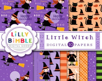 80% off Halloween Digital Scrapbook Paper, Little Witch, black cat, cute, purple, black, orange, Instant Download