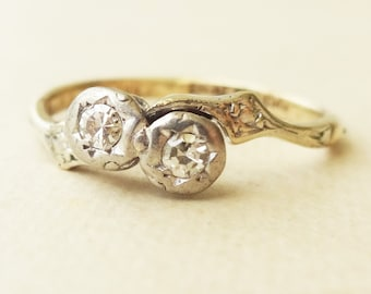 Art Deco 9k Gold and Platinum Twin Diamond Ring, Vintage Diamond Engagement Ring Approx. Size US 5.25