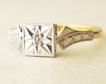Art Deco Rose Cut Diamond Solitaire Engagement Ring, Vintage 9k Gold Ring Approx. Size US 7.25 / 7.5