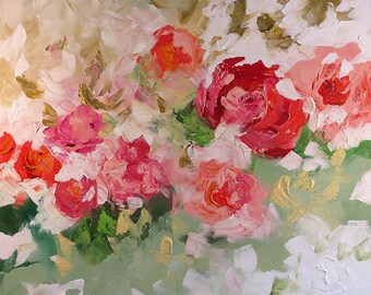 Abstract Floral Painting Giclee Print Made To Order Impressionist Art Bold Red Pink Roses Large Fine Art Print Wall Decor by Linda Monfort