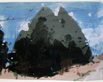 Cedars Near Dark, Original Landscape Collage Painting on Paper, Stooshinoff