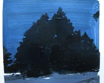 Cedars at Dusk, Original Winter Landscape Collage Painting on Paper, Stooshinoff