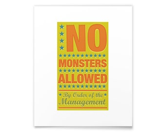 Mom Wall Art- Children's Art- No Monsters Allowed Print- Art for Kids Room- Kids Artwork- Art Kids Art Prints- Kid Wall Art- Baby Room Decor
