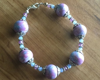Chunky Ceramic and Crystal Bracelet