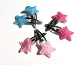 Trio of Pastel Star Barrettes in Pink and Blue 3 pairs for Harajuku Fashion Lovers