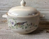 "Noritake Ireland/""Periwinkle and Finch""  2 Quart Round Covered Casserole Dish/""The Country Diary Of An Edwardian Lady"""