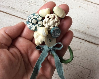 Vintage Buttons and Beads/Brooch/Button Posy Embellishment/Handcrafted Jewelry/Mother of Pearl