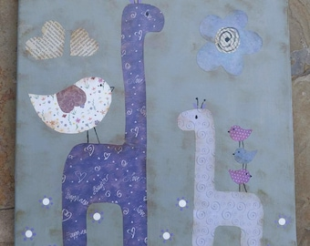Mama and Baby Purple and Grey Giraffe Mixed Media Whimsical OOAK Painting Folk Art Custom Girl Boy Nursery Children's Room Wall Art